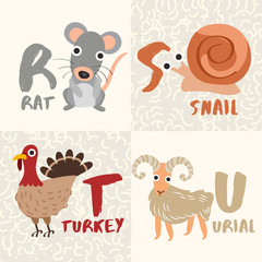 Cute Animal Alphabet Set : Letter R,S,T,U : Vector Illustration