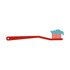 Toothbrush icon in flat style isolated on white background. Dental care symbol