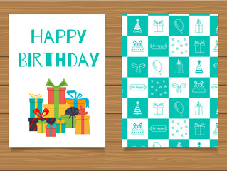 Happy Birthday. Lettering greeting card and its reverse side with an abstract design.