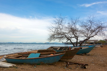 Abandoned traditional boats