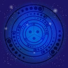 Spiritual sacred symbol on the deep blue cosmic sky. Sacral geometry in universe.