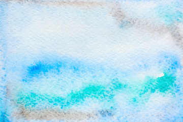 Abstract background, original art, watercolor painting. Paper texture with brown, green and blue stains.  Colorful handmade technique aquarelle.