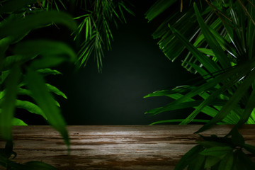 spa background. View of tropical green foliage with wooden surface