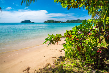 Beautiful tropical island beach summer holiday in sunny day.