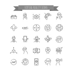 Virtual and augmented reality icon set