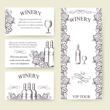 Winery bouqlet and cards templates set. Vector illustration
