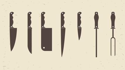 Knifes set or Kitchen knives icons. Vector illustration
