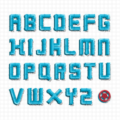 Water pipe alphabet.