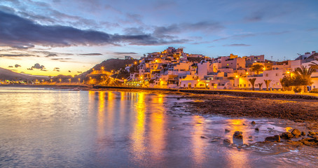 A view of Las Playitas village in the dusk in Fuerteventura island, Canary Islands