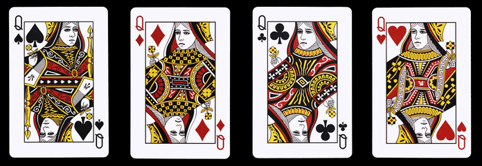 4 Queens in a row - Playing Cards