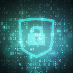 Safety shield with padlock icon computer digital data code background