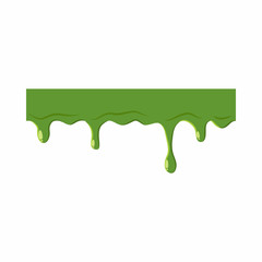 Oozing slime isolated on white background. Green slime vector illustration