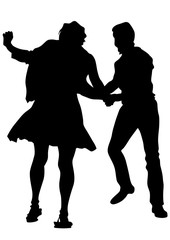 Pair of sport dance performers on a white background