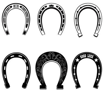 Horse shoe icon set. Lucky steel horseshoes vector sign collection isolated on white background.