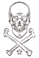 Skull bones Doodle vector isolated eps 10