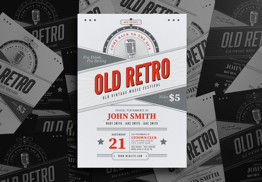 Old Retro Music Flyer Layout 2