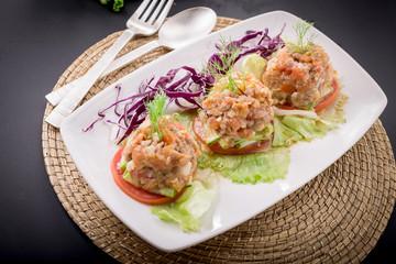 Nam prik ong, Thai northern style chili paste cooktail food.