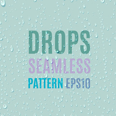 Set of water transparent drops seamless pattern. Rain drops. Condensed water background. Water drops scattered across the surface.