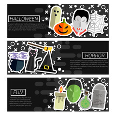 Set of Horizontal Banners about halloween