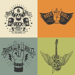 Set of Rock festival flyer template.