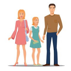 Smiling, happy family - father, mother and daughter, vector, colored, isolated.