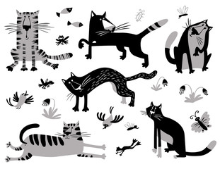 Flat cats set. Vector illustration in children's minimalistic style