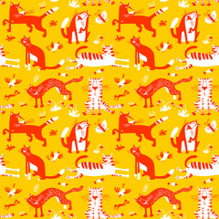 Flat seamless pattern with funny cats. Vector background in children's style