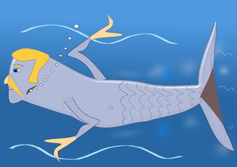 Sirena macho nadando por los océanos marinos.
