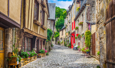 Traditional houses in narrow alley in an old town in Europe