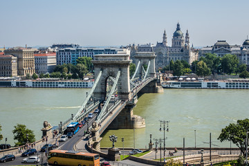 The famous Chain Bridge (1849) in Budapest, Hungary, Europe.
