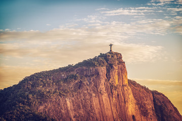 Sunrise over Christ and Corcovado Hill in Rio de Janeiro