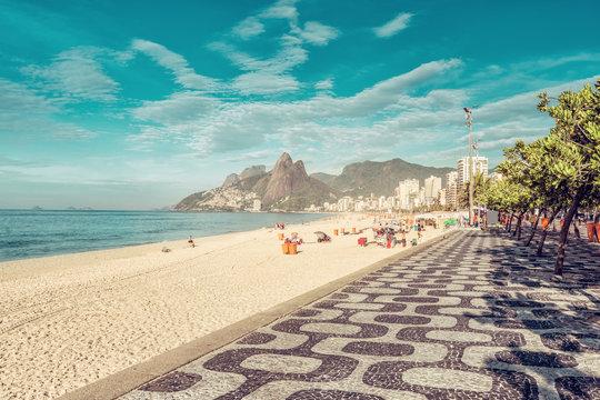 Mosaic sidewalk on Ipanema Beach in Rio De Janeiro, Brazil