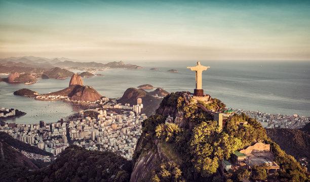 Aerial panorama of Botafogo Bay and Sugar Loaf Mountain, Rio De