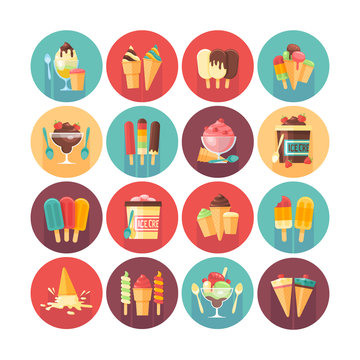 Ice cream and frozen desserts icon collection. Flat vector circle icons set with long shadow. Food and drinks.