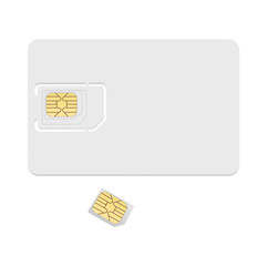 Blank sim card template. Realistic vector icon isolated on white background.