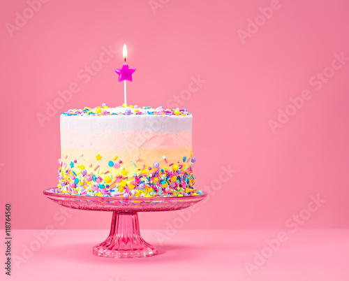 Colorful Birthday Cake With Sprinkles