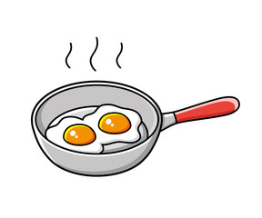 Fried eggs in a frying pan.