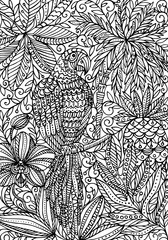 Parrot macaw and tropical plants coloring page. Creative vector illustration.