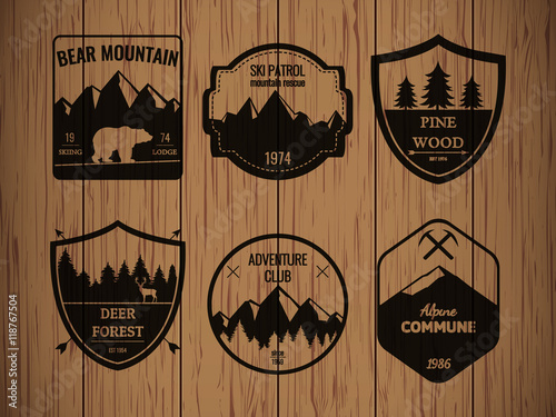 Camping and outdoors adventure vintage logos, emblems