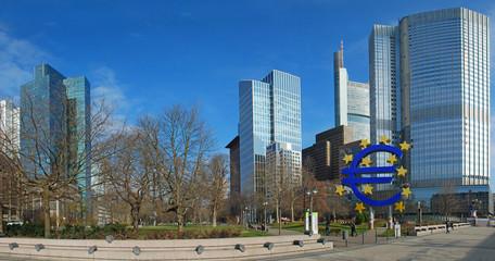 Frankfurt business district. Euro sign square. Panorama