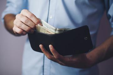 man hand wallet