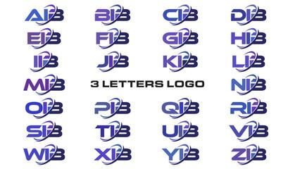 3 letters modern swoosh logo AIB, BIB, CIB, DIB, EIB, FIB, GIB, HIB, IIB, JIB, KIB, LIB, MIB, NIB, OIB, PIB, QIB, RIB, SIB, TIB, UIB, VIB, WIB, XIB, YIB, ZIB