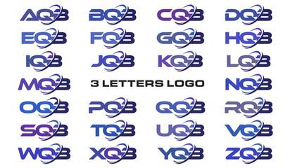 3 letters modern swoosh logo AQB, BQB, CQB, DQB, EQB, FQB, GQB, HQB, IQB, JQB, KQB, LQB, MQB, NQB, OQB, PQB, QQB, RQB, SQB, TQB, UQB, VQB, WQB, XQB, YQB, ZQB