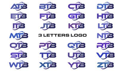 3 letters modern swoosh logo ATB, BTB, CTB, DTB, ETB, FTB, GTB, HTB, ITB, JTB, KTB, LTB, MTB, NTB, OTB, PTB, QTB, RTB, STB, TTB, UTB, VTB, WTB, XTB, YTB, ZTB