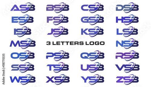 3 letters modern swoosh logo ASB, BSB, CSB, DSB, ESB, FSB
