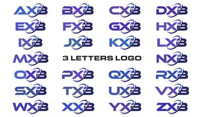 3 letters modern swoosh logo AXB, BXB, CXB, DXB, EXB, FXB, GXB, HXB, IXB, JXB, KXB, LXB, MXB, NXB, OXB, PXB, QXB, RXB, SXB, TXB, UXB, VXB, WXB, XXB, YXB, ZXB