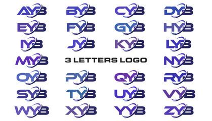 3 letters modern swoosh logo AYB, BYB, CYB, DYB, EYB, FYB, GYB, HYB, IYB, JYB, KYB, LYB, MYB, NYB, OYB, PYB, QYB, RYB, SYB, TYB, UYB, VYB, WYB, XYB, YYB, ZYB