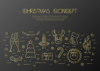 Christmas black concept with decorated Christmas gold elements and attributes in a thin line for prints. Flat design. Vector