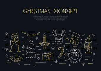 Christmas black concept with decorated Christmas gold and silver elements and attributes in a thin line for prints. Flat design. Vector