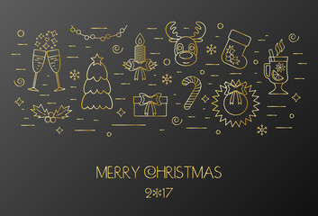 Black card for the Christmas and New Year. Decorated Christmas gold elements and attributes in a thin line for prints. Flat design. Vector
